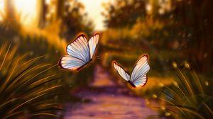Превью обои бабочки, блики, свет, арт