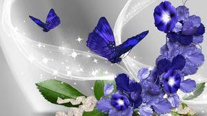 Превью обои бабочки, цветы, полет, абстракция, красочный