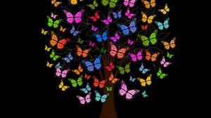 Превью обои бабочки, дерево, узоры, разноцветный