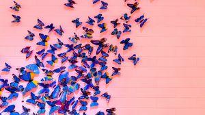 Превью обои бабочки, стена, декорация, оформление
