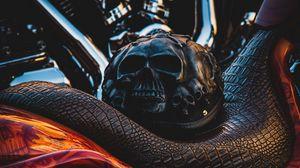 Превью обои байк, шлем, мотоцикл, черепа