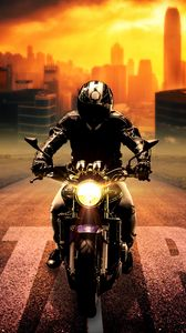 Превью обои байкер, байк, мотоцикл, мотоциклист, фотошоп