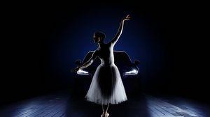 Превью обои балерина, автомобиль, девушка, фары, jaguar