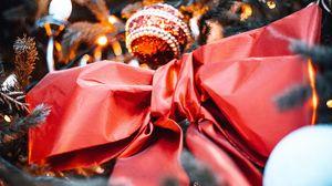 Превью обои бант, украшения, елка, новый год, рождество