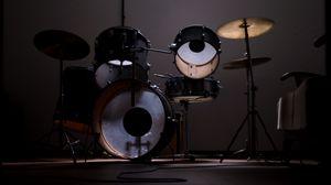 Превью обои барабанная установка, барабаны, музыка, музыкальное оборудование