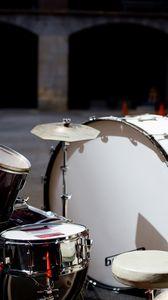 Превью обои барабанная установка, барабаны, музыкальное оборудование, музыка