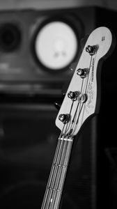 Превью обои бас гитара, гитара, гриф, струны, музыка, черно-белый