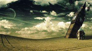 Превью обои башня, часы, биг бен, падение, ирреализм, поле