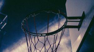 Превью обои баскетбол, баскетбольная сетка, баскетбольное кольцо, баскетбольный щит, небо