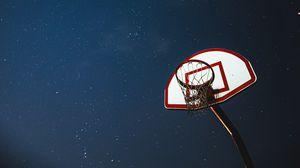 Превью обои баскетбол, баскетбольный щит, сетка, ночь, звезды