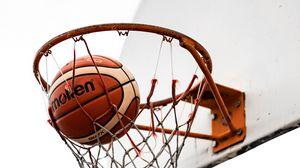 Превью обои баскетбол, мяч, баскетбольная сетка, баскетбольное кольцо, щит
