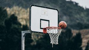 Превью обои баскетбол, мяч, баскетбольное кольцо, бросок