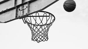 Превью обои баскетбол, сетка, кольцо, чб