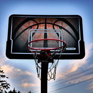 Превью обои баскетбольное кольцо, баскетбол, небо, сумерки