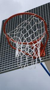 Превью обои баскетбольное кольцо, баскетбол, сетка, спорт, облака