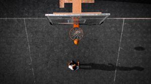 Превью обои баскетбол, баскетбольное кольцо, мяч, вид сверху