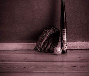 Превью обои бейсбол, бита, перчатка, инвентарь, спорт