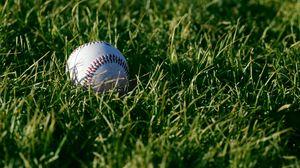 Превью обои бейсбол, мяч, трава, спорт