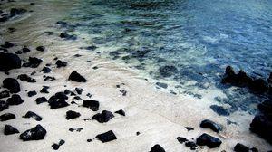 Превью обои берег, камни лето, река