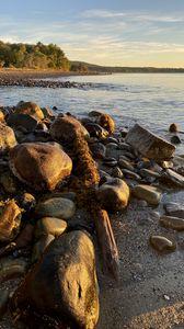 Превью обои берег, камни, море, горизонт, пейзаж