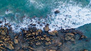 Превью обои берег, камни, море, прибой