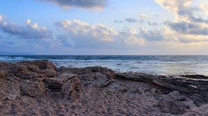 Превью обои берег, море, песок, облака