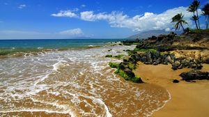 Превью обои берег, пляж, море, остров, суша, тропики