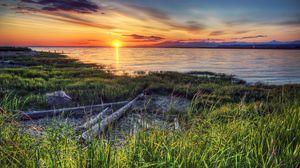 Превью обои берег, река, закат, канада