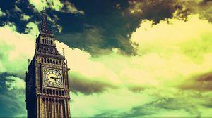 Превью обои биг бен, часы, лондон, небо, облака
