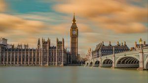 Превью обои биг бен, панорама, мост, река, лондон, великобритания
