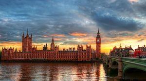Превью обои биг бен, темза, город, вестминстерский дворец, лондон, река, hdr