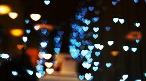 Превью обои блики, сердца, свет