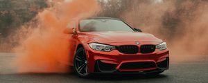 Превью обои bmw, автомобиль, бампер, красный, вид спереди