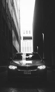Превью обои bmw, автомобиль, чб