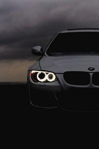 Превью обои bmw, фары, автомобиль, пасмурно, облака