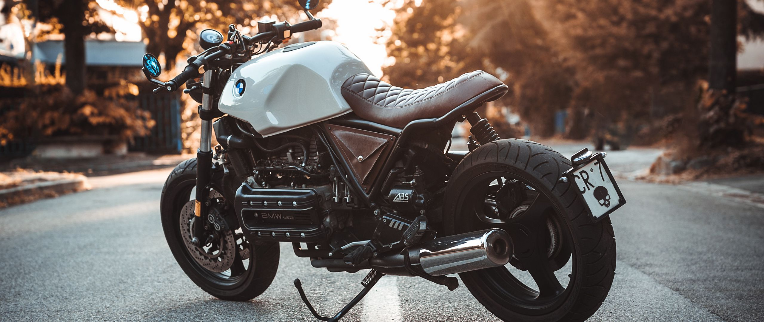 2560x1080 Обои bmw k100, мотоцикл, байк, вид сбоку