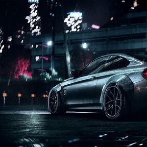 Превью обои bmw, машина, спортивный, купе, серый, металлик, мокрый, ночь