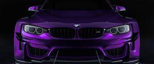 Превью обои bmw, машина, спорткар, фиолетовый, вид спереди