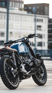 Превью обои bmw r80, bmw, мотоцикл, байк, синий, вид сбоку