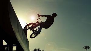 Превью обои bmx, трюк, силуэт, рампа, велосипед, прыжок