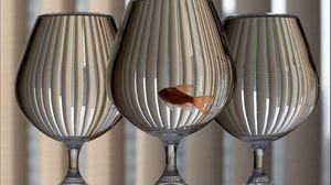 Превью обои бокалы, аквариум, рыба, стекло