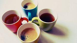 Превью обои бокалы, чай, кофе, разноцветные