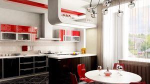 Превью обои бокалы, дизайн, красное, кухня, люстра, окно, стиль, стол, стулья