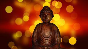 Превью обои будда, медитация, буддизм, статуэтка, блики