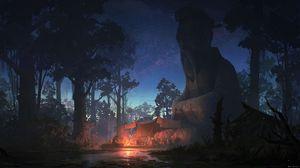 Превью обои статуя, мудрец, ночь, лес, палатка, костер