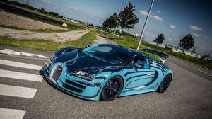 Превью обои bugatti, veyron, super, sport, saphir bleu, supercar