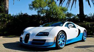 Превью обои bugatti, veyron, vitesse, синий, пальмы
