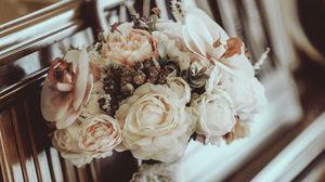 Превью обои букет, цветы, композиция, пианино