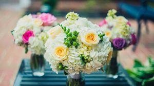 Превью обои букет, цветы, ваза, композиция, оформление