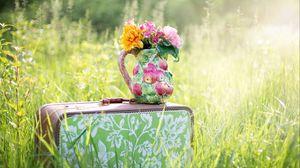 Превью обои букет, ваза, цветы, чемодан
